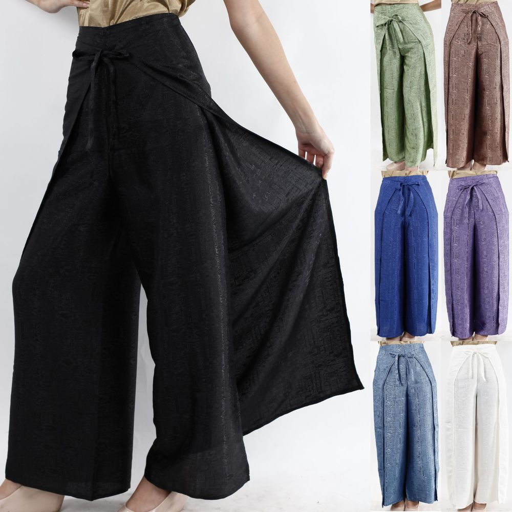 80ce87d155a Womens Thai Silk Wrap Pants Sarong Palazzo Harem Yoga Hippie ...