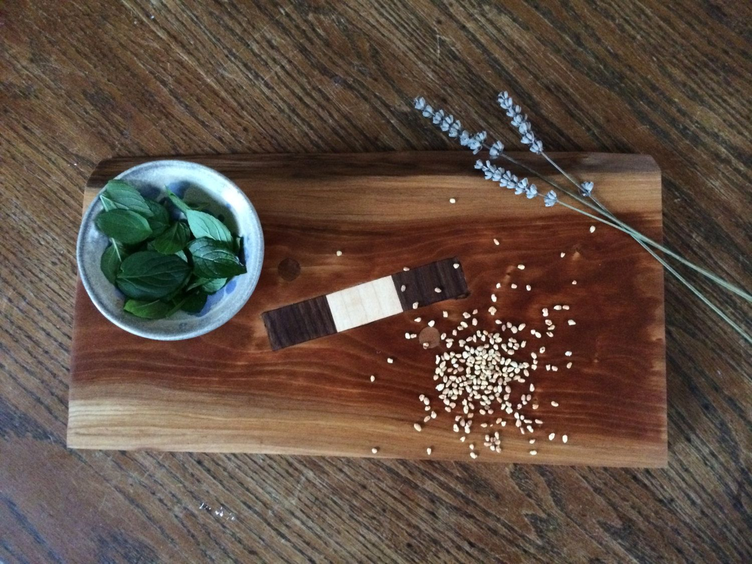 Live Edge Cherry Cutting Board with Maple and Walnut Inlay by SincerelyJack on Etsy