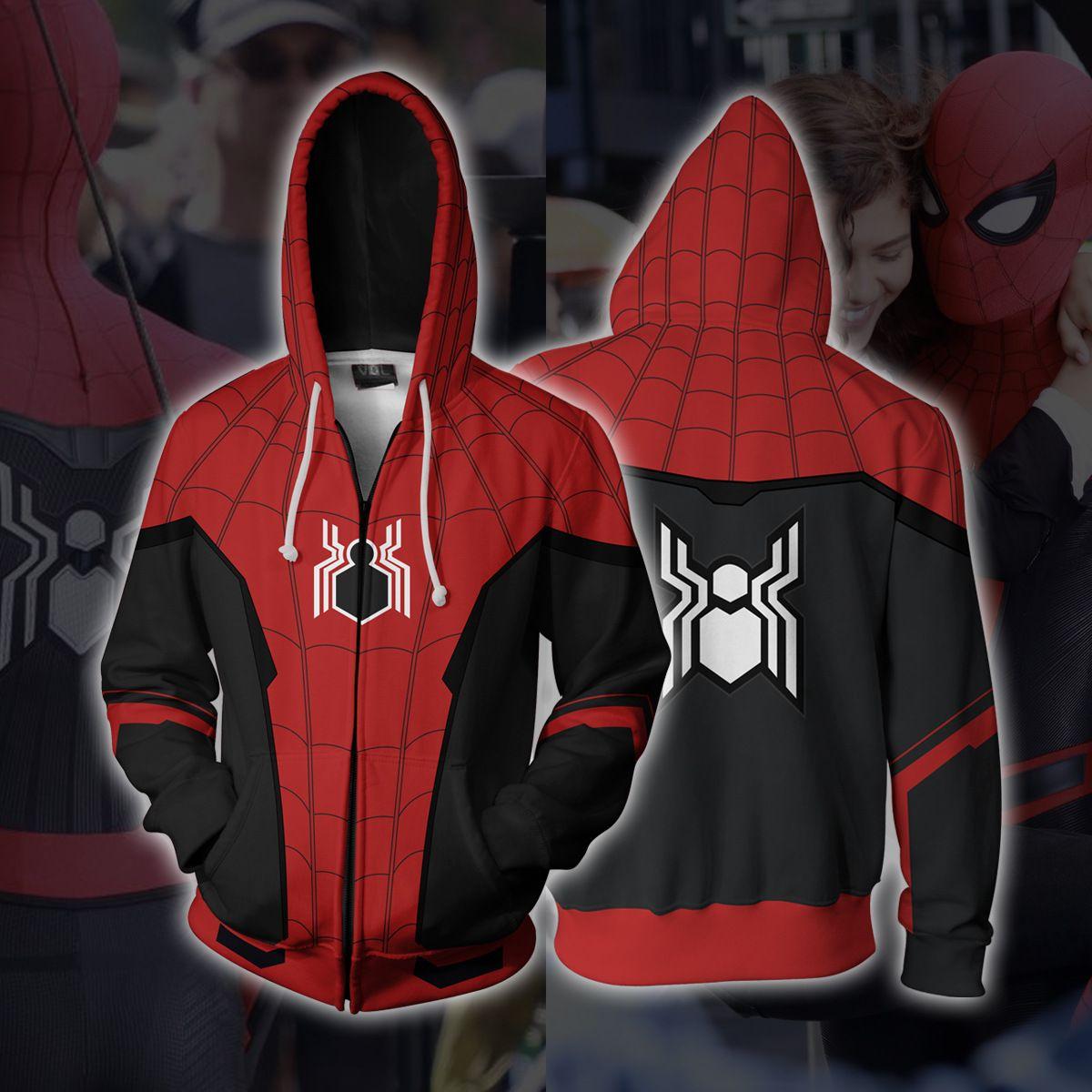 Spiderman Hoodie Spider Man 2 Far From Home Jacket Zip Up Hoodies Cosplay Mens Outfits Spiderman Hoodie Hoodies Men [ 1200 x 1200 Pixel ]