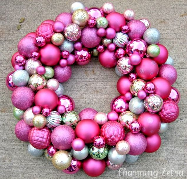 Pink ornament wreath | Silly Yule | Pinterest | Wreaths, Ornament ...