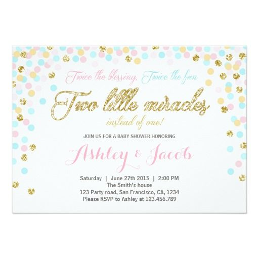 Twins Baby Shower Invitation Blush pink blue Gold Twins Baby