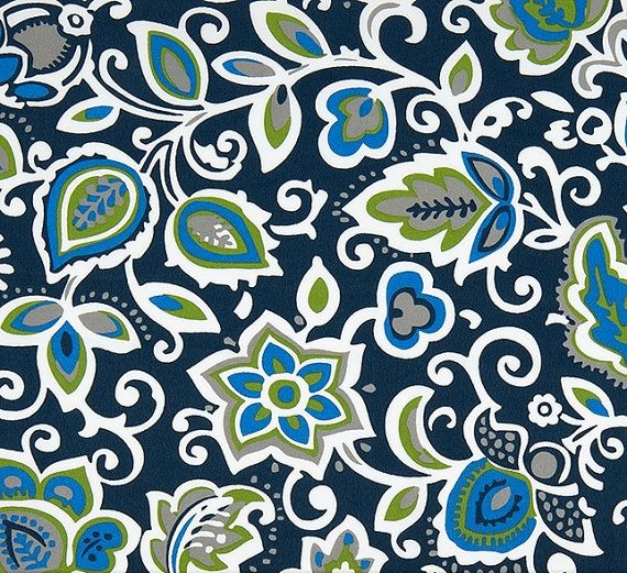 Tropical Floral Navy Blue Indoor Outdoor Fabric by the Yard ...