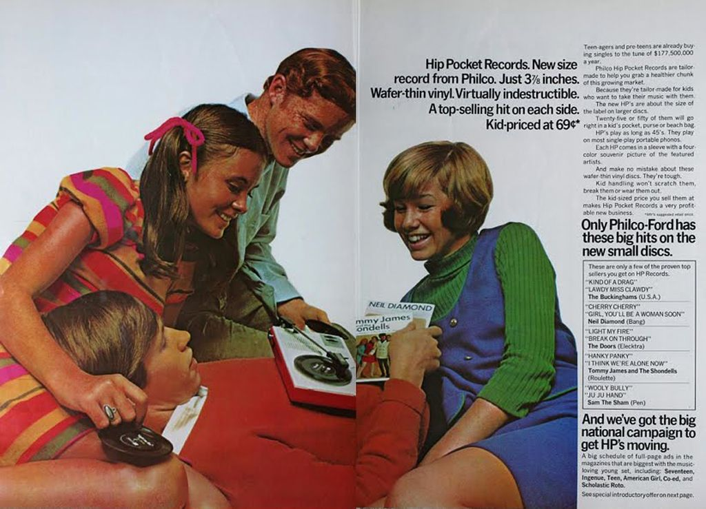 Philco Hip Pocket Records 1967 // never heard of these...back then,