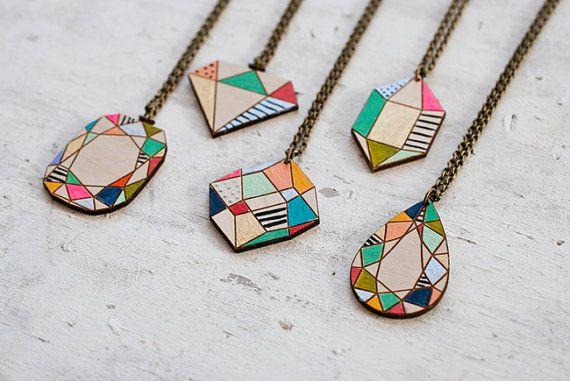 Handpainted wooden gem pendants gift for her handpainted jewelry handpainted wooden gem pendants gift for her handpainted jewelry aloadofball Choice Image