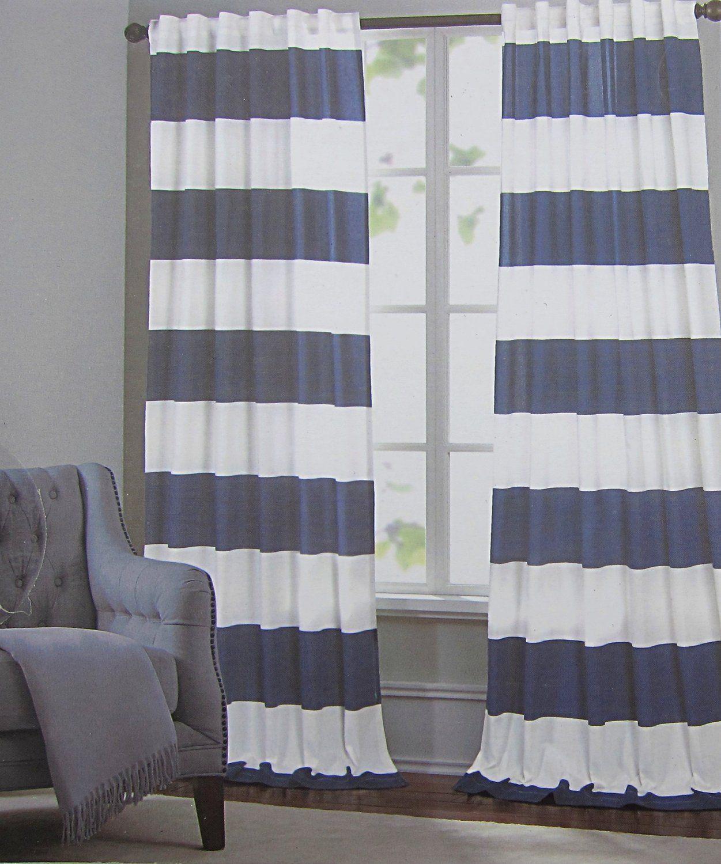 Amazon.com   Hillcrest Navy Blue White Stripe Window Panels Drapes Set 2  NEW 52