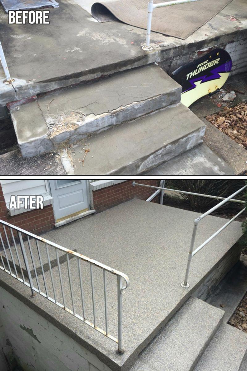 Graniflex Porch Concrete Resurfacing This Fast Setting Bond Like Crazy Flexible Membrane Is Qu Concrete Resurfacing Concrete Patio Makeover Driveway Repair