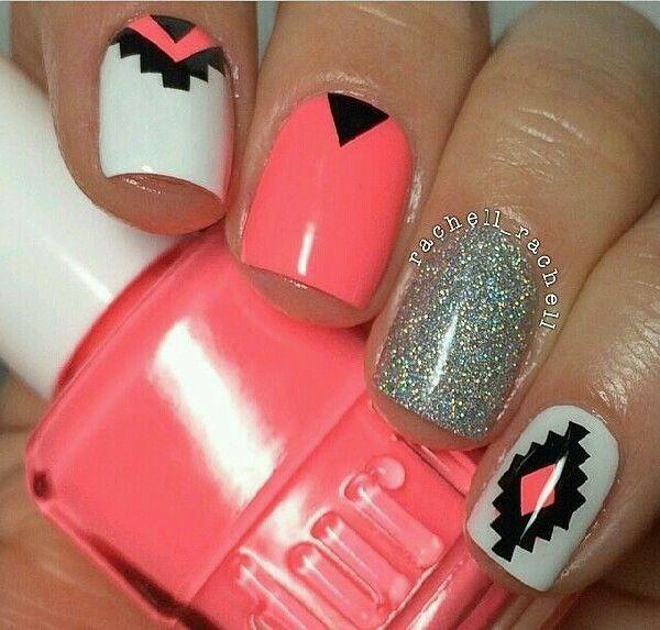 💎❄Peach Aztec Nail Design ❄💎   Aztec nail designs, Aztec nails ...