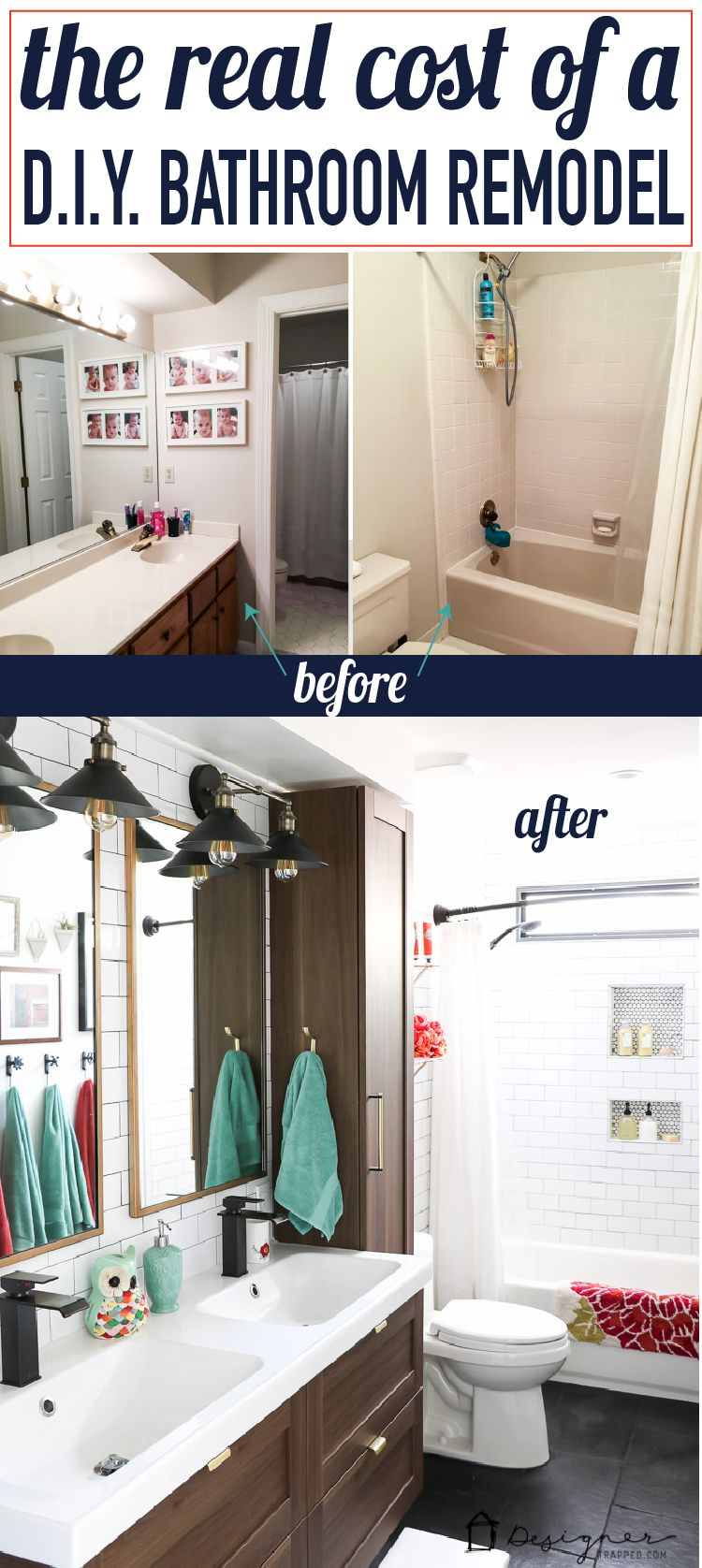 Diy Bathroom Remodel Reveal With Images Bathroom Renovation