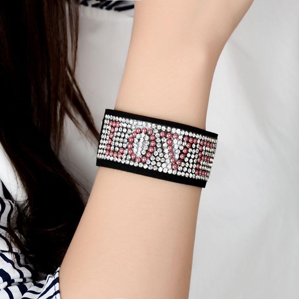 Click to buy ucuc trendy wide pu leather bracelet punk rhinestone