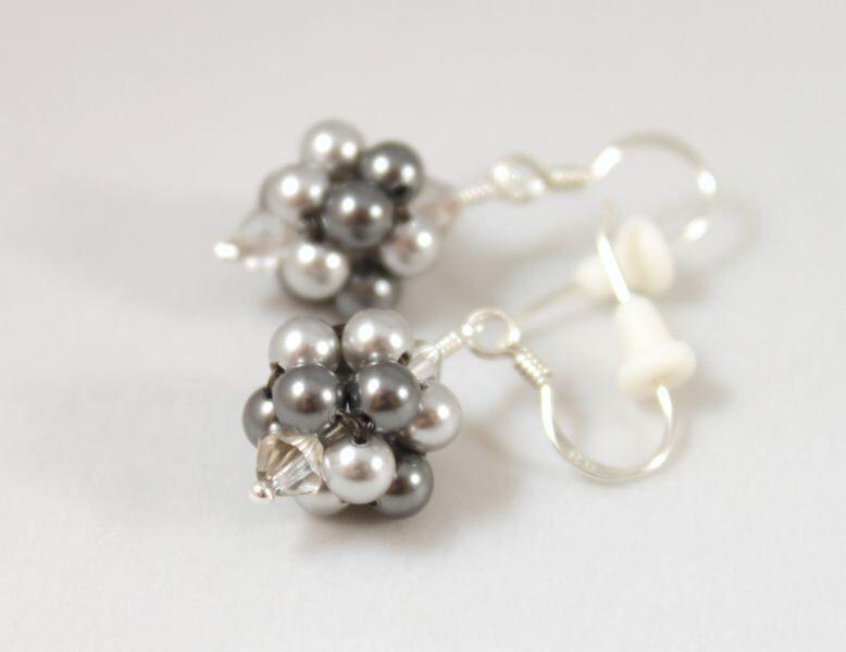 Grey jewelry set earrings and pendant bubbles Swarovski pearls