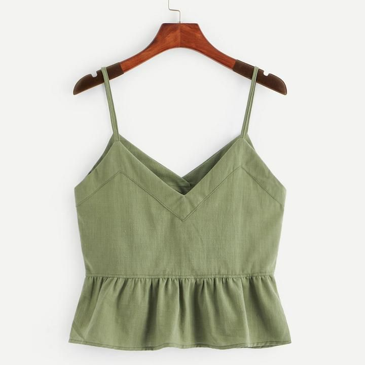 Sleeveless Sling Tanks Button Solid Shirt Front Ruffle Hem Cami Crop T – klozetstyle.com