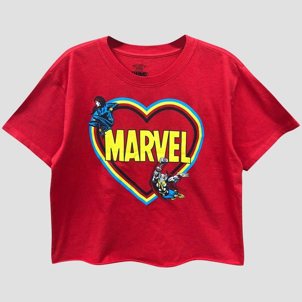 ba730fd25fe22 Women's Marvel Short Sleeve Avengers Heart Skimmer Graphic T-Shirt  (Juniors') Red M
