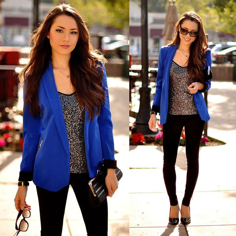 Jessica R. - Mart Of China Blue Blazer, Express Sequin Tank ...