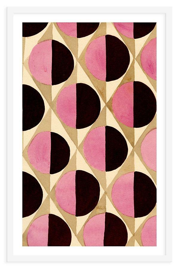 Fashion print I geometrical print I pink & black half circles I watercolor @monstylepin