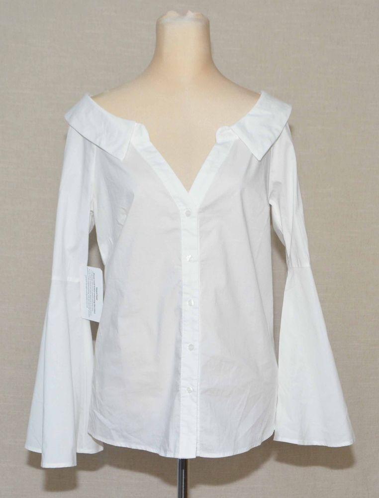 Socialite Décolleté Neck Button Down Bell Sleeves Off White Top Medium  Bohemia  Socialite  Blouse 565b7116599