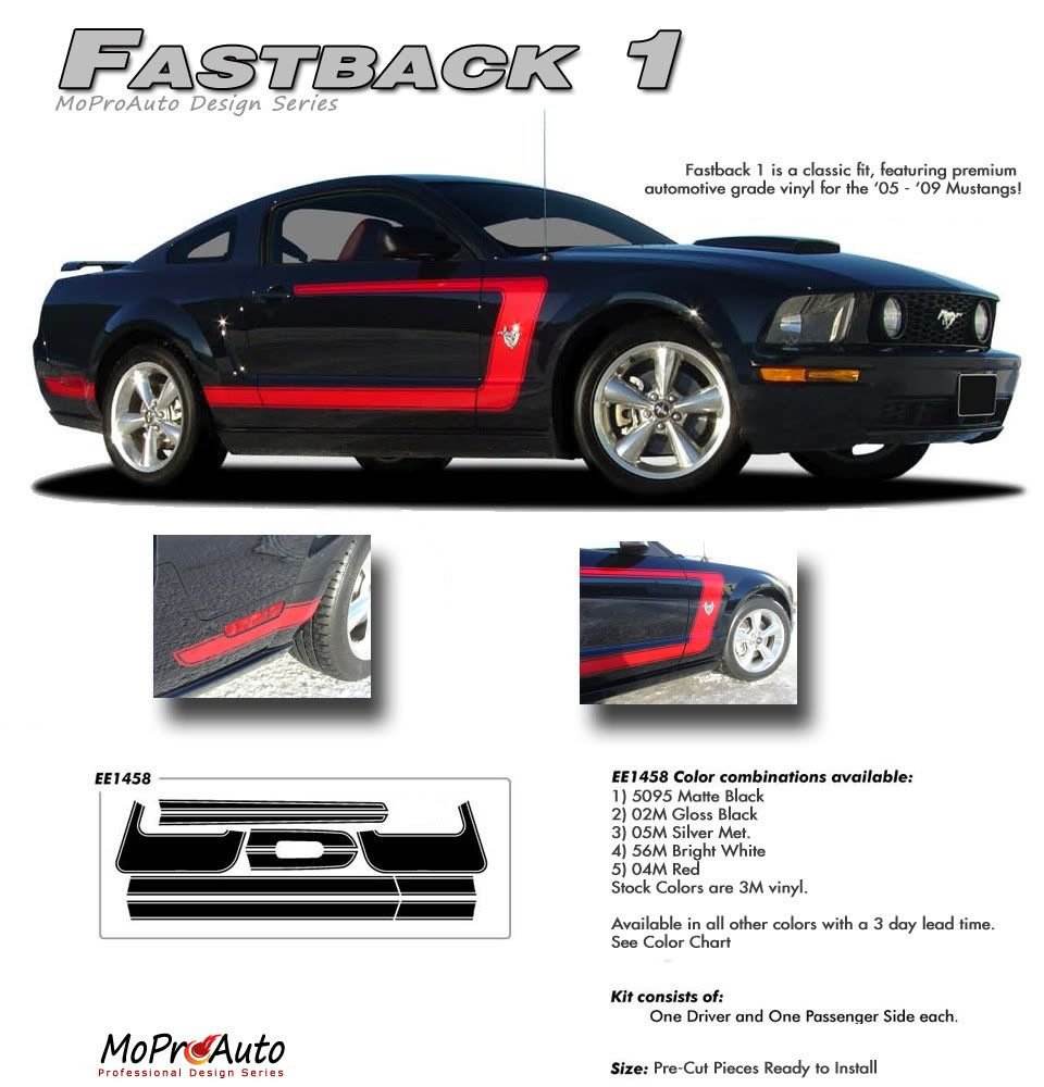 Mustang fastback 1 2005 2009 ford mustang vinyl graphics and decal kit