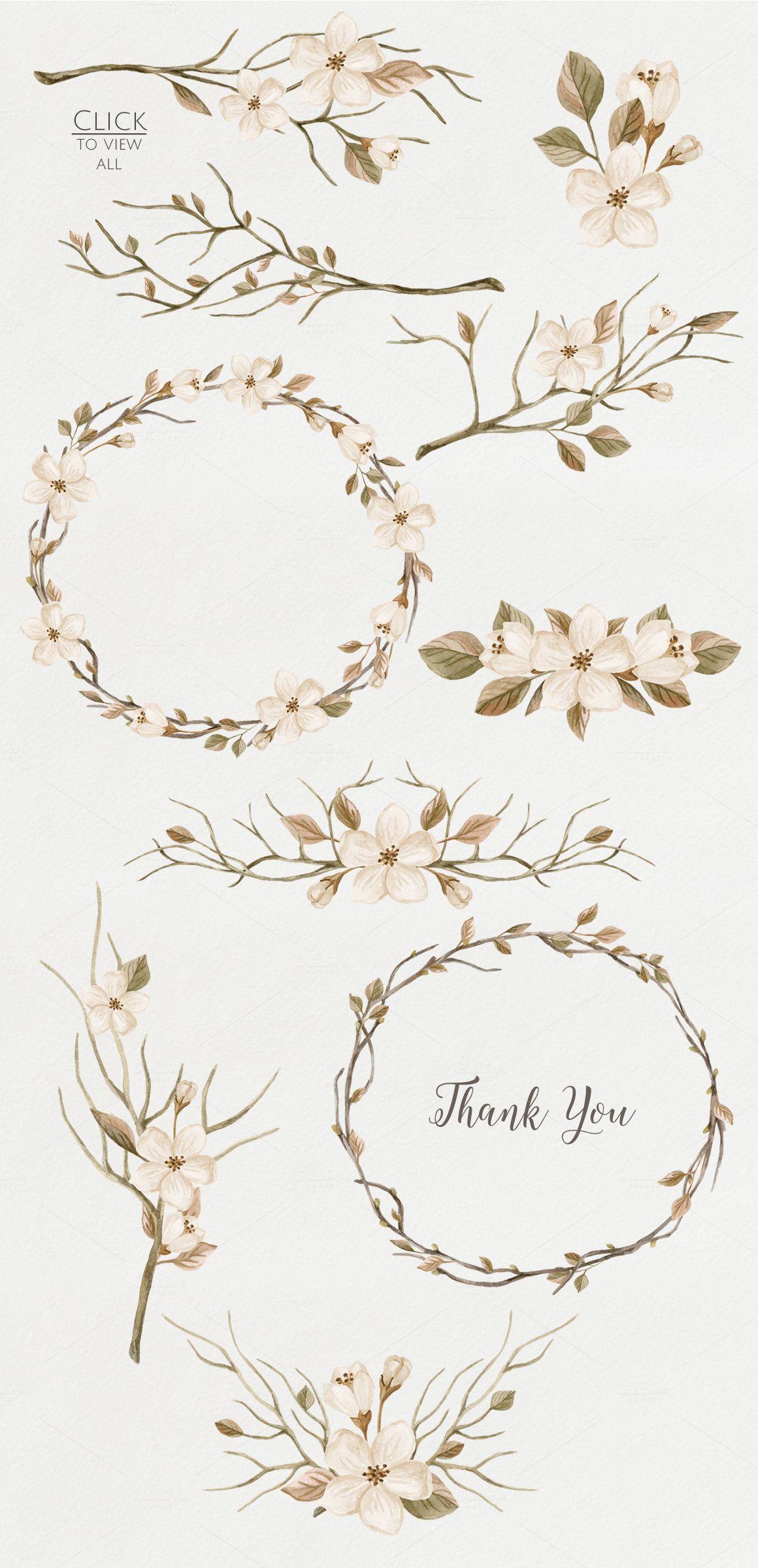 WatercolorRetroSet.FloweringBranches by NataliVA on Creative Market