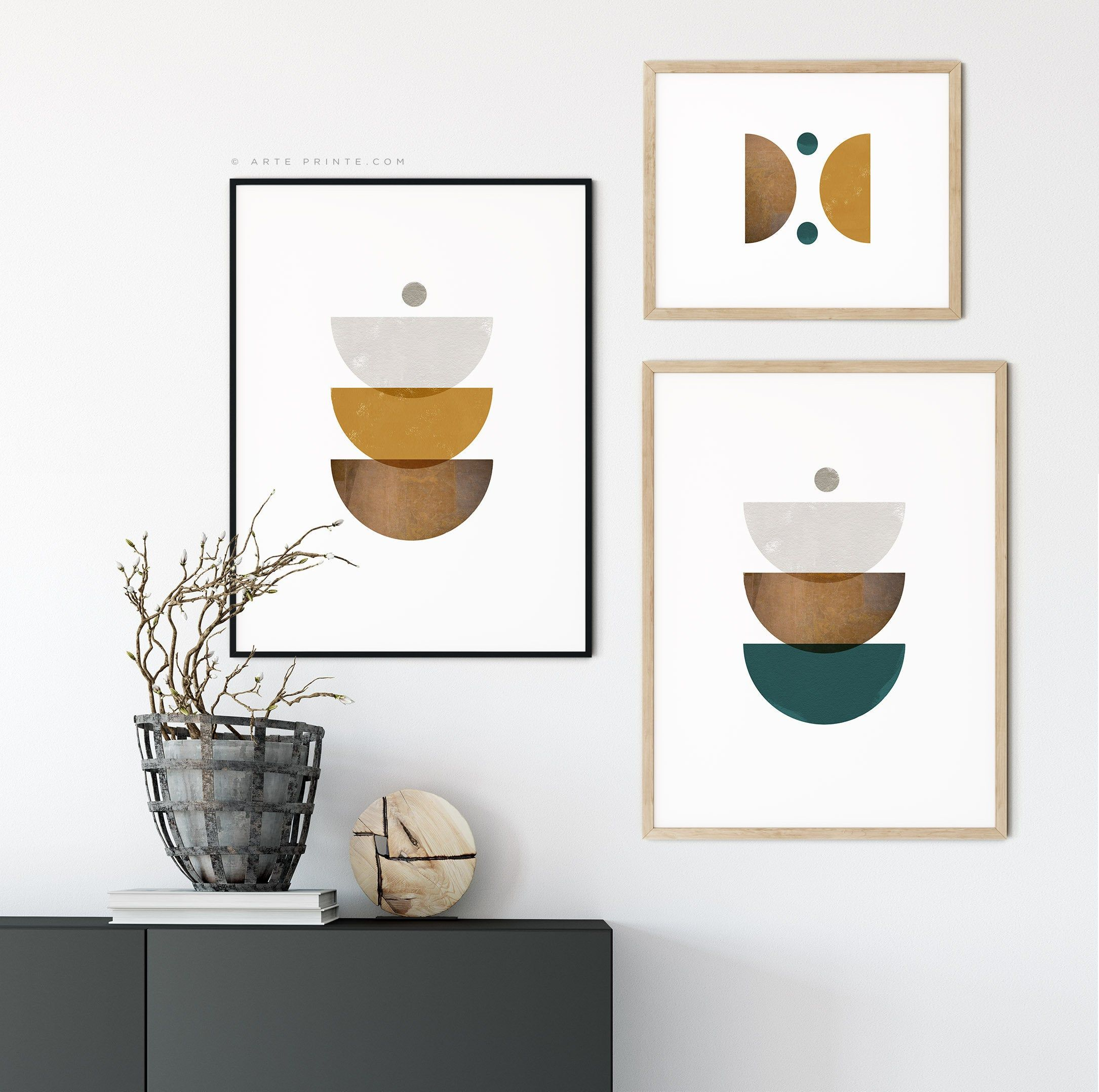 Excited To Share The Latest Addition To My Etsy Shop Diy Wall Art Prints Set Of 3 Geometric Abstract S Mid Century Wall Art Geometric Wall Art Modern Art Diy