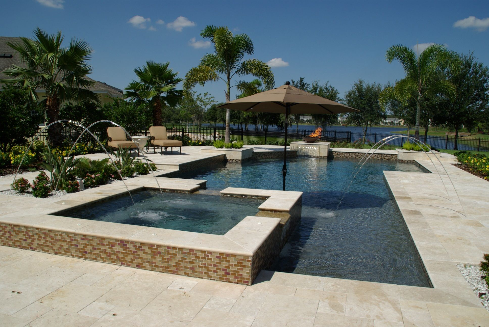 torrean travertine pavers Filled coping with Torreon
