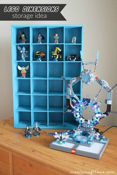 Organize some of the clutter with this Lego DImensions Storage Idea! via createcraftlove.com & Lego Dimensions Storage Idea | Storage ideas Clutter and Lego