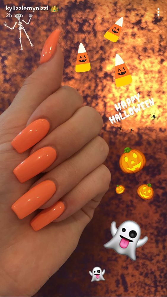 Acrylic Orange Coffin Nails Designs Are So Perfect For Fall Hope They Can Inspire You And Read The Article Orange Acrylic Nails Fall Acrylic Nails Kylie Nails