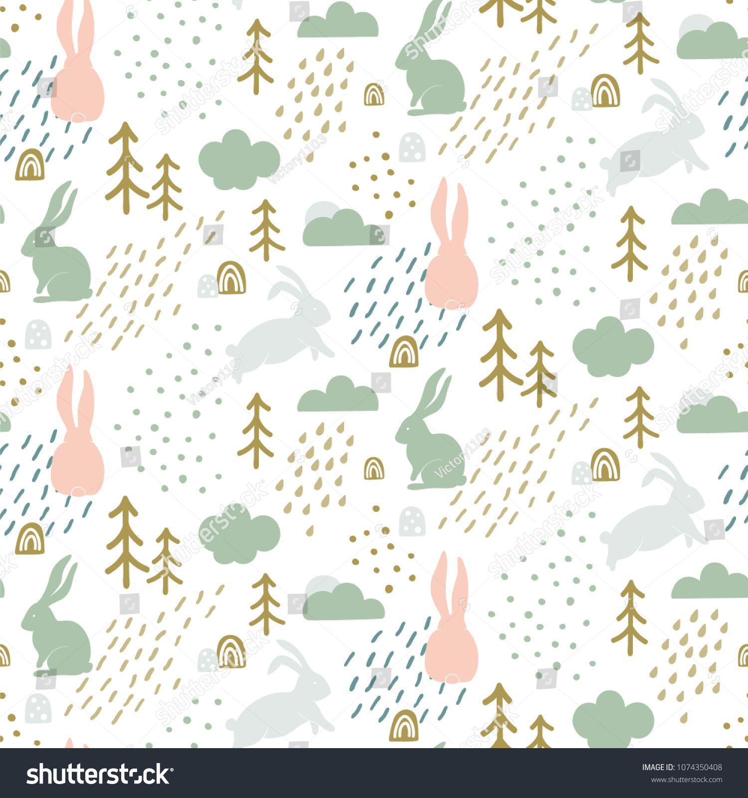 Seamless Childish Pattern With Cute Bunny Silhouette In Forest Scandinavian