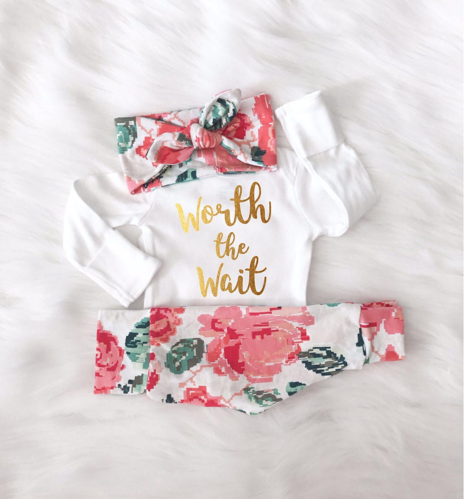 Gold Baby Girl Outfit Girls Clothes Floral Trendy Designer