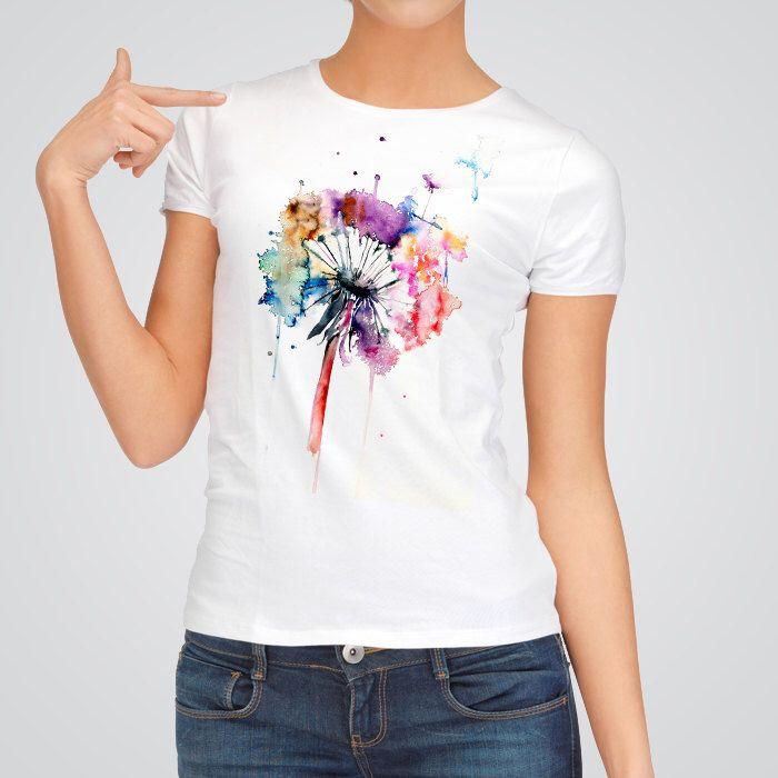 Dandelion Watercolor T-shirt - Printed Design T-shirt - Printed ...