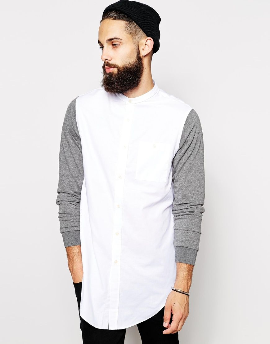 ccdf558960c ASOS Longline Shirt With Contrast Jersey Sleeves And Grandad Collar