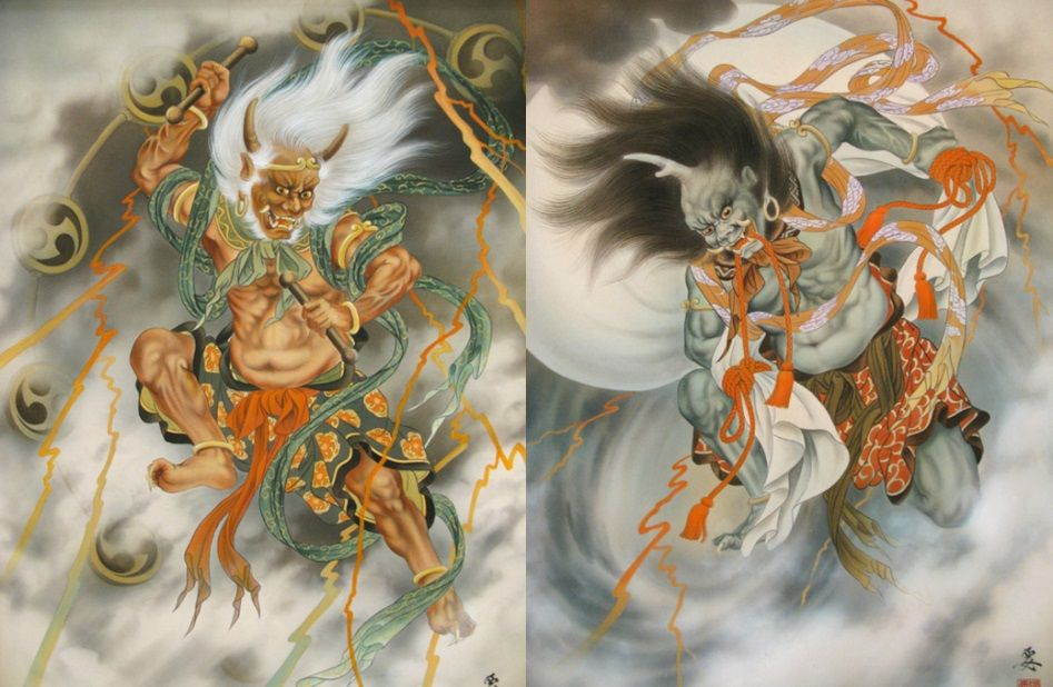 Fujin Raijin Fujin Is The Japanese God Of The Wind And One Of The Eldest Shinto Gods Raijin Is The God Of Japanese Tattoo Japanese Tattoo Art Japanese Art