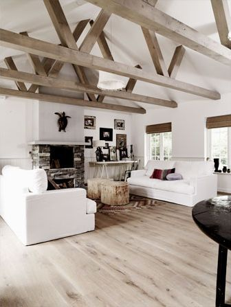 image result for farmhouse reclaimed wood rafter white