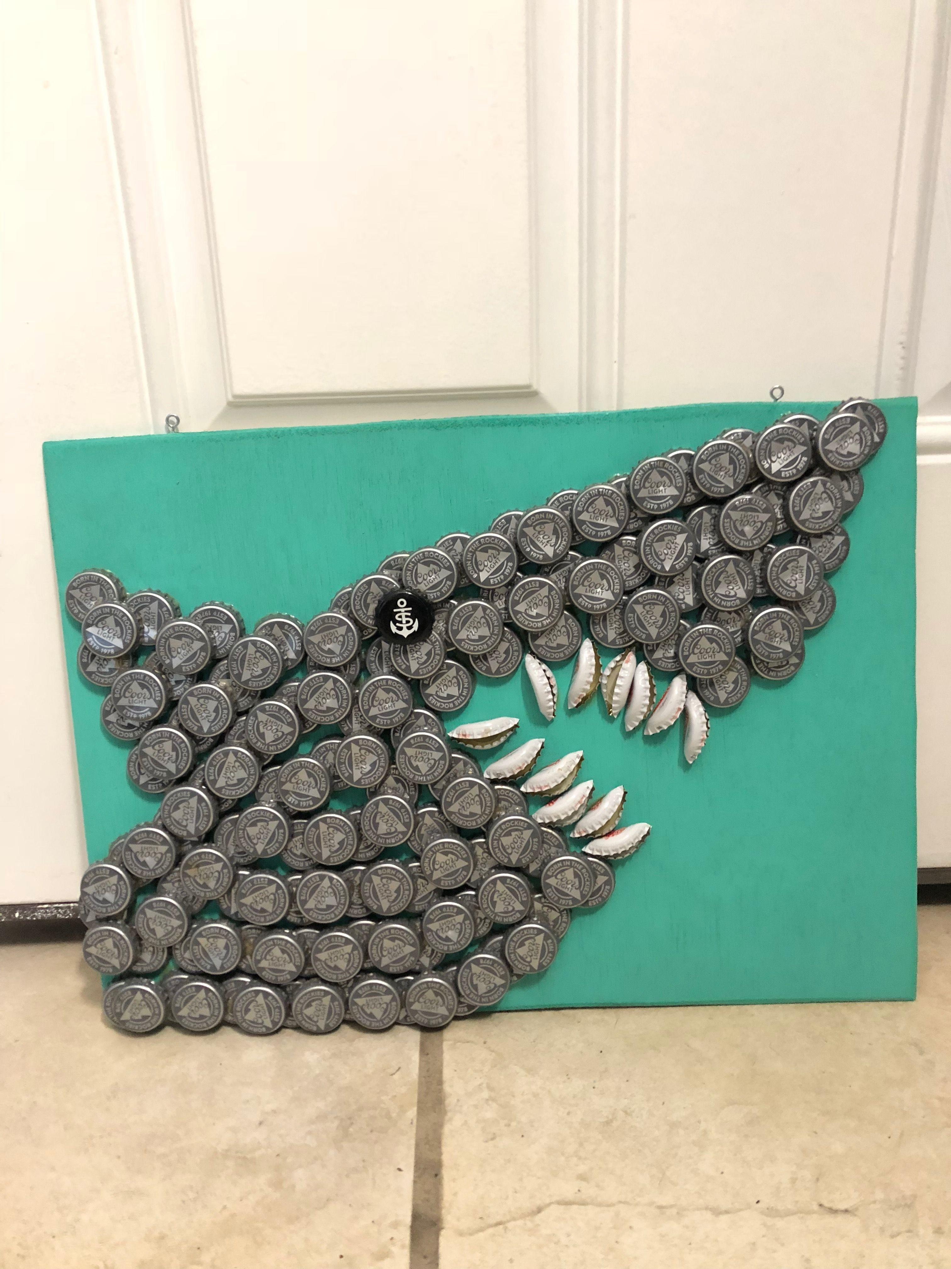 Check out our new shark bottle cap art! #bottlecaps