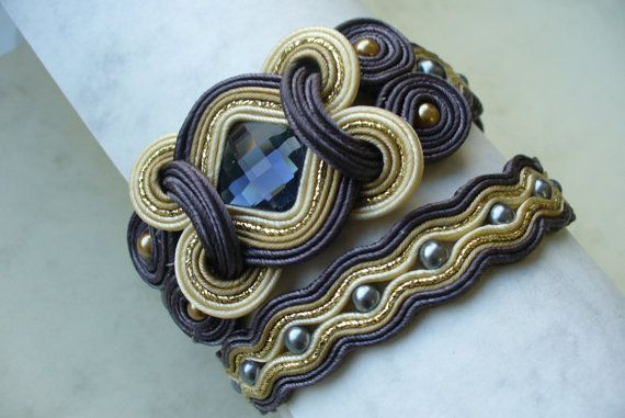 "Bracelet LAISVE by lindalinda2 on Etsy, $95.00 ....interesting use of square element with braid ""loops""."