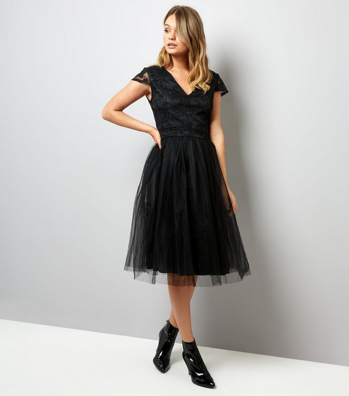 cf17301d52f Mela Black Lace and Tulle Skirt Prom Dress