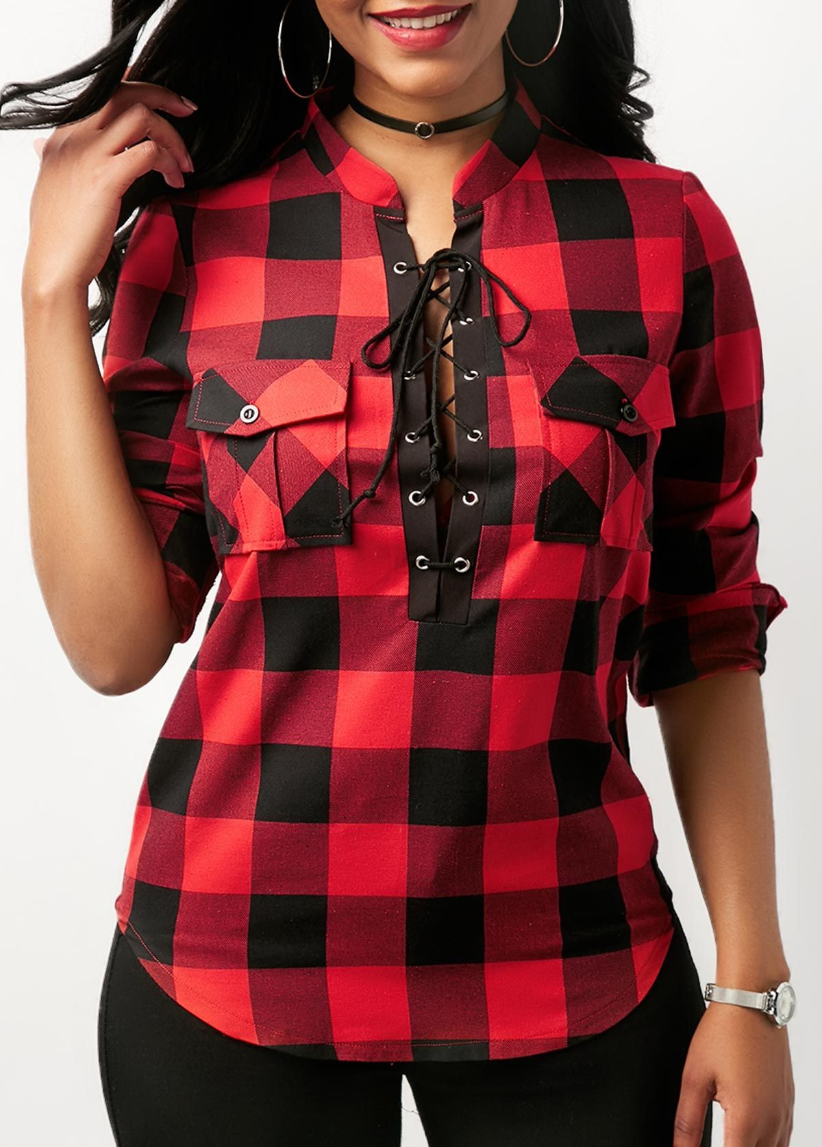 acd040272d5dcb Curved Plaid Print Lace Up Front Red Blouse