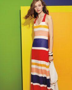 fun color blocking in a spring maxi dress.