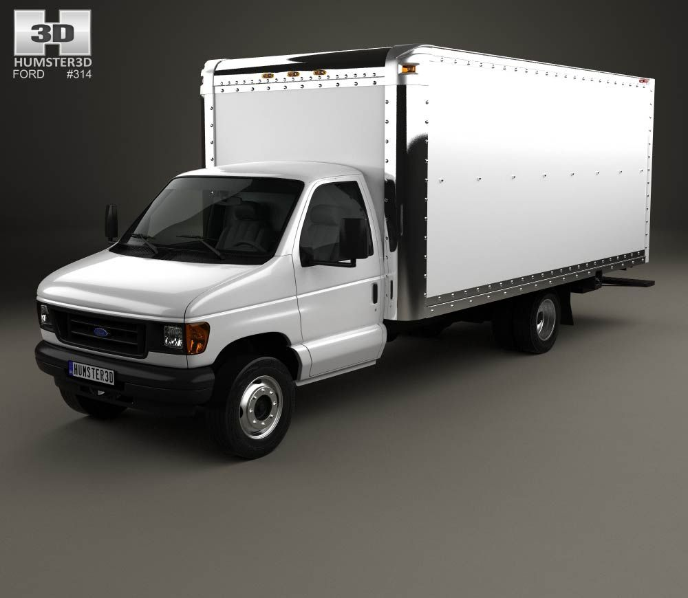 Ford e350 box truck 1993 3d model from hum3d com