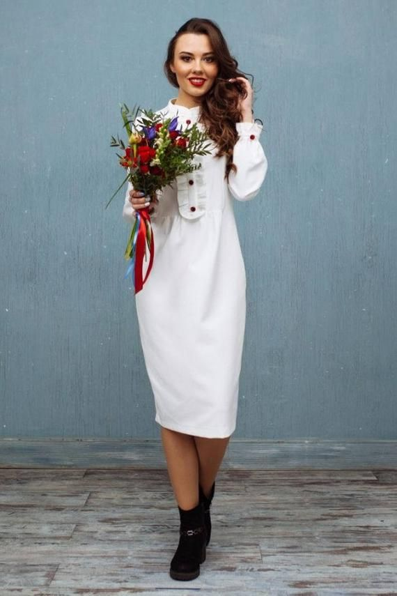 01f07b184ab Elegant white warm office winter dress with midi skirt and long ...