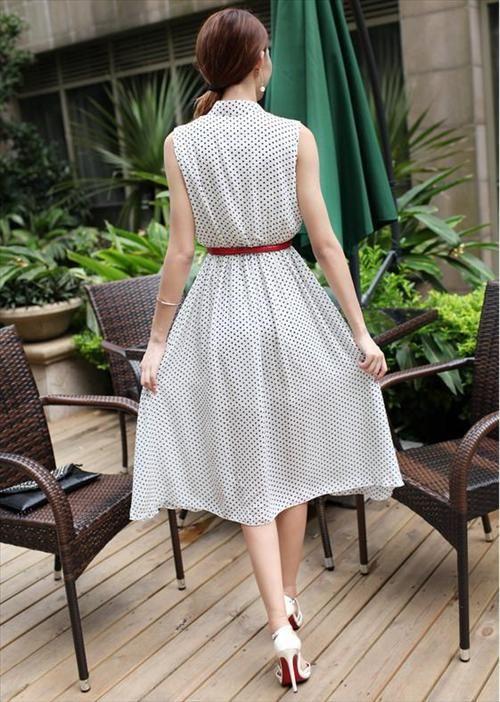 Đầm maxi vintage chấm bi cổ trụ dễ thương