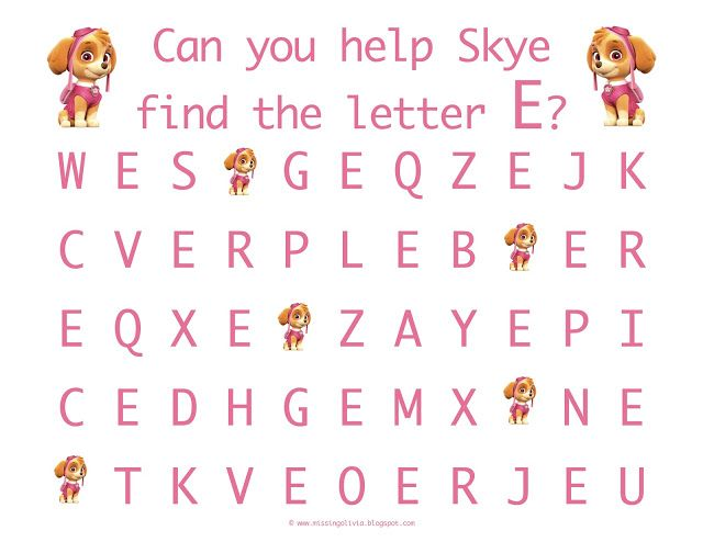 Letter Recognition with the uppercase letter E with Skye from Paw - letter of recognition