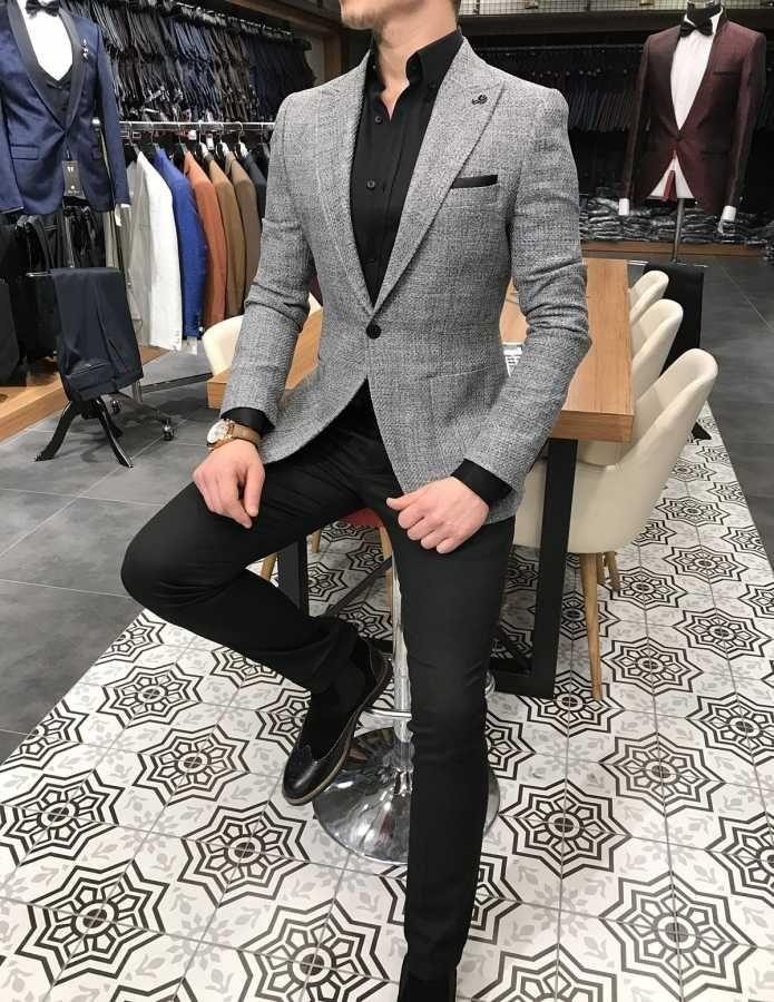 Terziademaltun Italyan Stil Erkek Slim Fit Blazer Gri Tek Ceket T3130 1 Siyah Takim Elbise Erkek Siyah Takim Elbise Stil Erkek