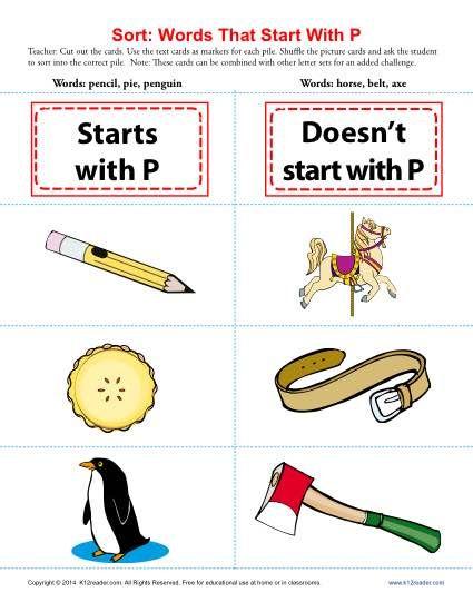 Words Starting With Letter P | Beginning Consonant Worksheets | Letter  sort, Kindergarten worksheets, Consonant