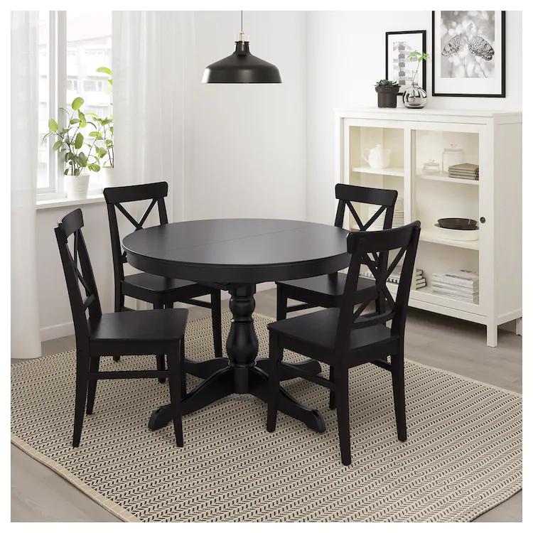 Ingatorp Extendable Table Black Max Length 61 Ikea In 2021 Dining Table Black Black Round Dining Table Black Kitchen Table