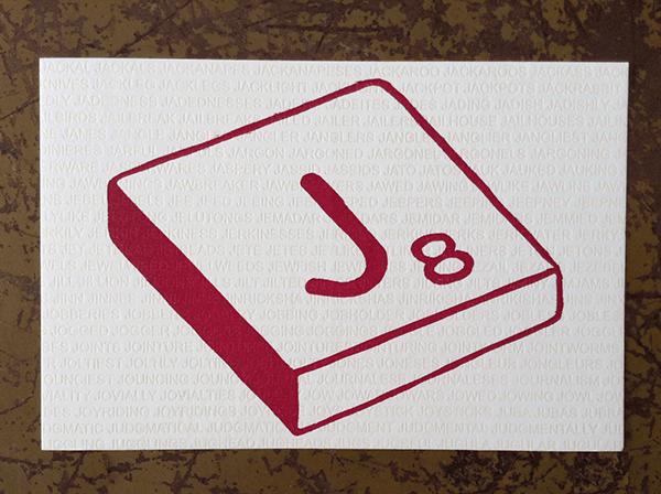 """Scrabble """"J"""" Letterpress Postcard on Behance"""