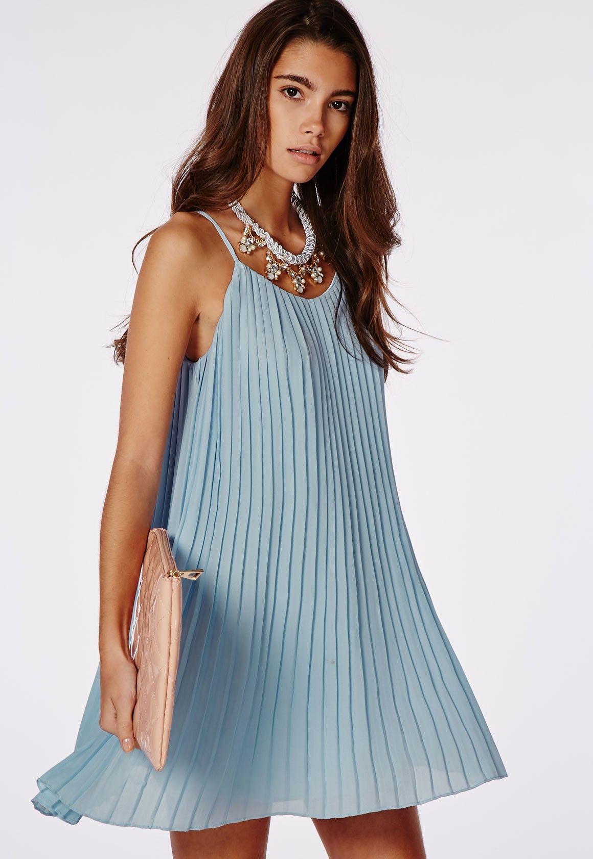 Missguided - Chiffon Pleated Swing Dress Powder Blue | Let's go ...