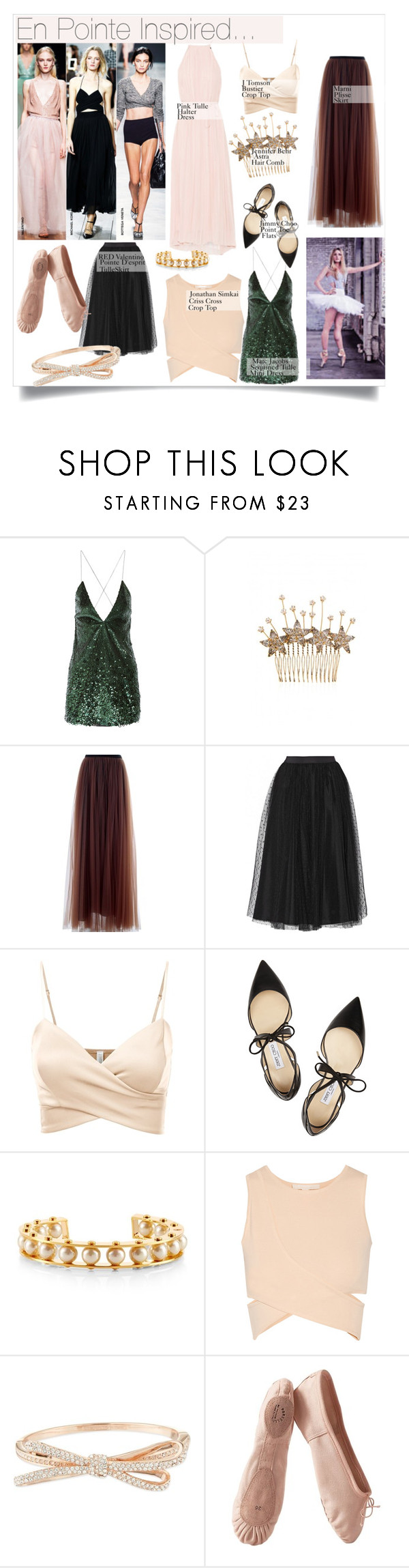 """""""Ballet Inspired ...."""" by nfabjoy ❤ liked on Polyvore featuring Marc Jacobs, Jennifer Behr, Marni, RED Valentino, J.TOMSON, Jimmy Choo, Lele Sadoughi, Jonathan Simkhai, Kate Spade and Porselli"""