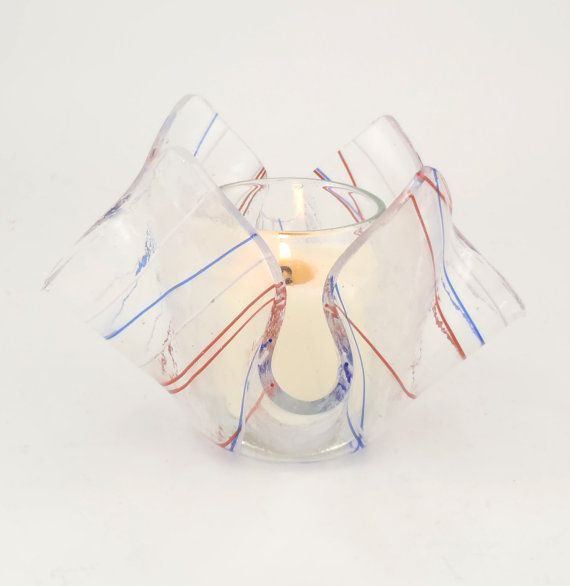 Clear Glass Candle Holder  Votive Candle Holder  by Nostalgianmore, with red, white and blue stripes!  Perfectly patriotic!