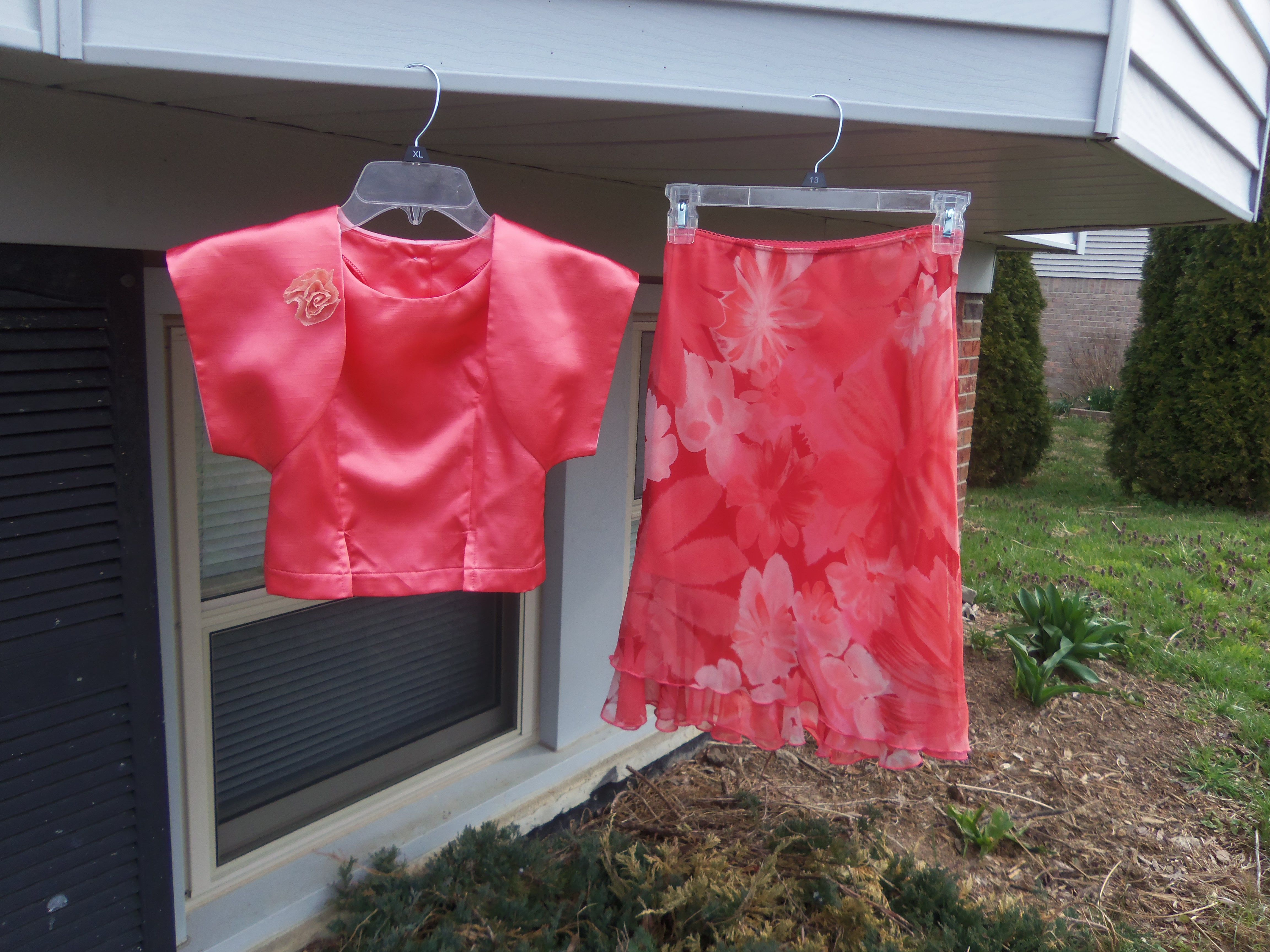 thrift skirt with home made blouse and bolero