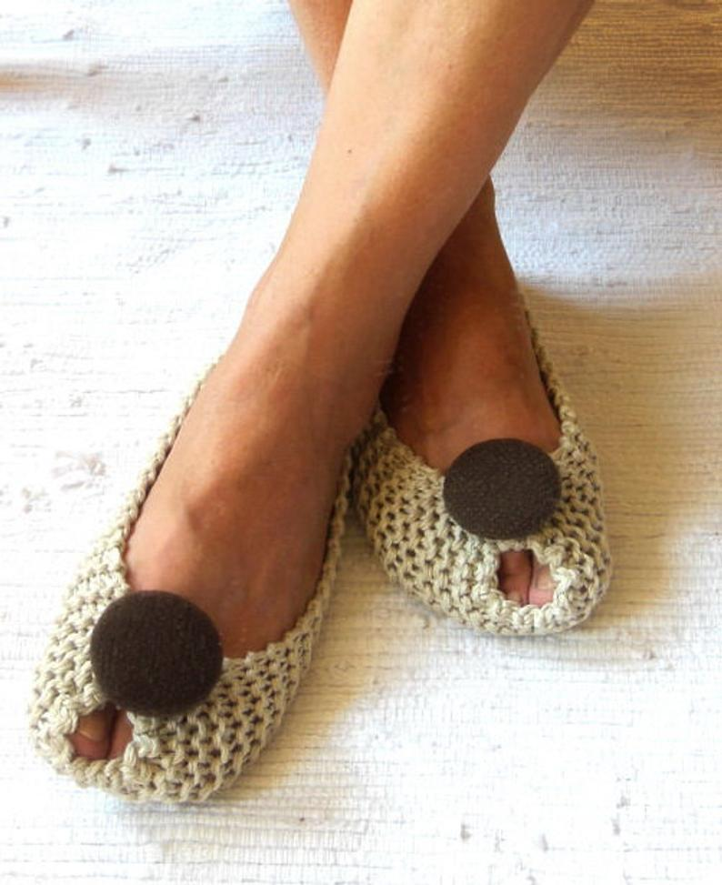 Photo of BEIGE COTTON Women's Slippers – Footwear – Ballet flats – Handmade shoes – Knitted slippers – NenaKnit – Gift idea Gift Wrapping – NonSlip