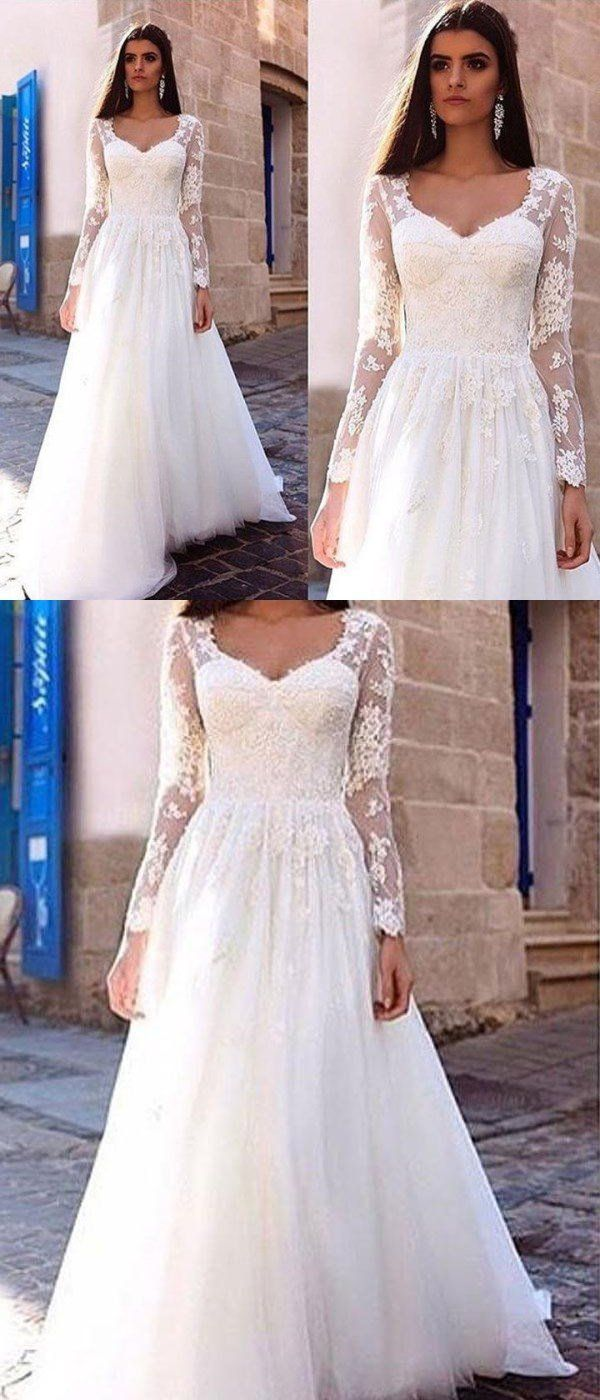 Long sleeve lace aline cheap wedding dresses online wd in